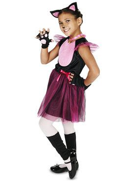 Black Pink Child Cat Costume