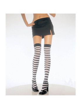 Black & White Stripe Thigh High Tights