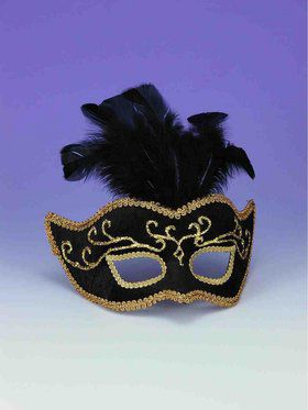 Black With Gold Trim And Feathers Half Mask