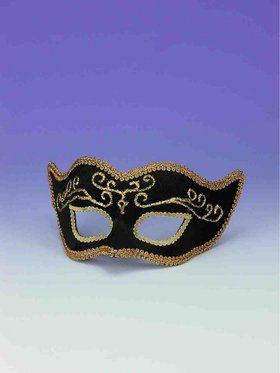 Black With Gold Trim Half Mask