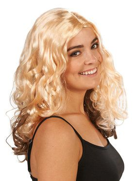 Blonde with Brown Layer Curly Adult Wig