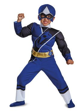 Child Blue Ranger Ninja Steel Muscle Costume
