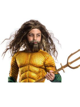 Boys Aquaman Beard And Wig Set