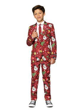 Opposuits Boys Christmas Red Icons Christmas Light Up Suit