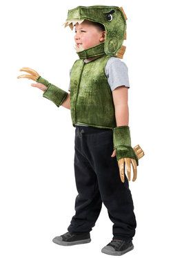 Boys Green T-Rex Dino Vest Costume