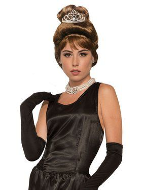 Breakfast At Tiffany's Adult Holly Golightly Wig and Tiara Set
