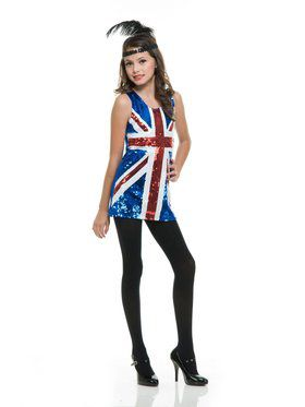 British Sequin Dress Girls Costume