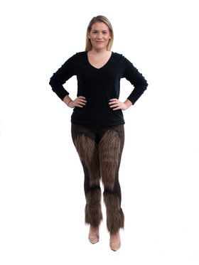 Brown Cute Furry Womens Leggings