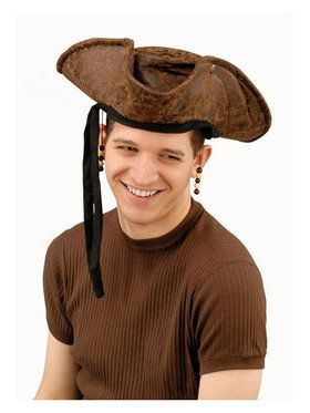 Brown Distressed Pirate Hat W/beads Adu
