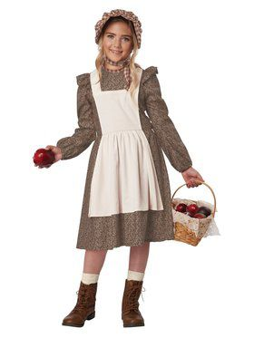 Girls Brown Frontier Settler Costume