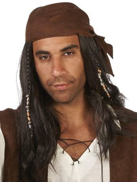Pirate Brown Wig with Beads for Adults