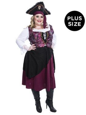 Pirate Wench Burgundy Costume for Adults