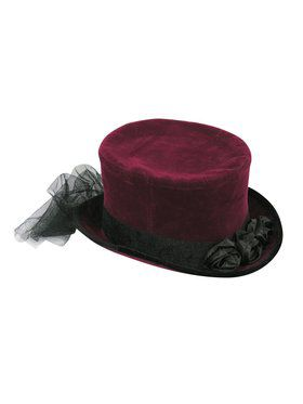 Burgundy Top Hat With Lace