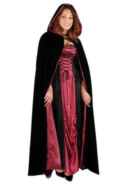 Full-Length Velvet Cape with Hood for Adults
