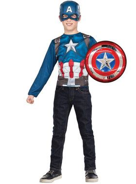 Captain America Super Shield & Child Costume Top Set