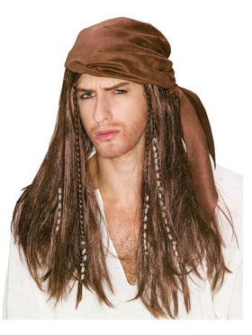 Caribbean Pirate Costume Wig for Adults