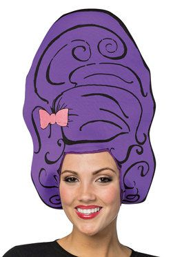 Cartoon Wig - Beehive Purple One- Size