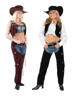 Chaps & Vest Ladies - Suede Adult Costume