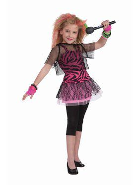 Child 80's Punk Rock Star Costume for Girls