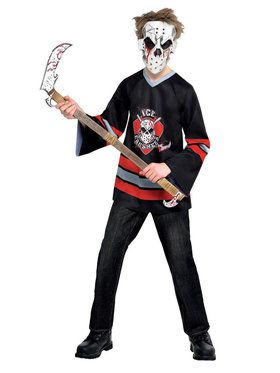Child Bloody Face Off Hockey Player Costume