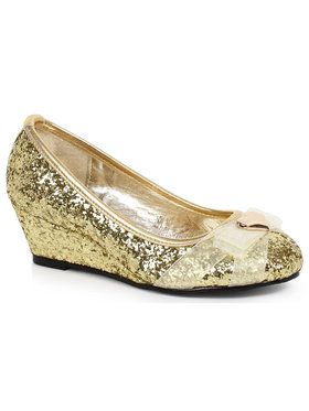 Children's Gold Glitter Princess Shoe with Heart Decor