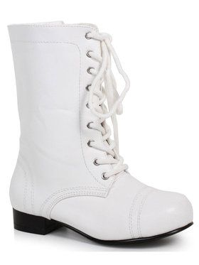 Children's White Ankle Combat Boot