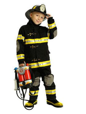 Boys Deluxe Black Firefighter Costume