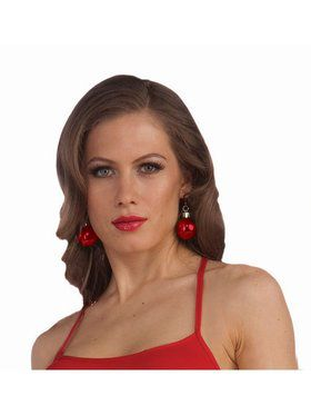 Christmas Ball Earrings - Red