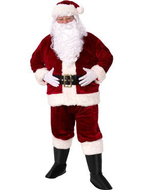 Crimson Imperial Plush Adult Santa Suit