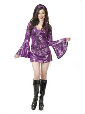 Curvy Psychedelic Swirl Disco Diva Costume for Women