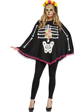 Day of the Dead Adult Poncho Costume