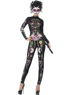 Womens Sugar Skull Day of the Dead Cat Costume