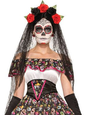 Day Of The Dead Veil With Headband