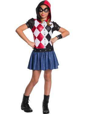 Girl's DC Super Hero Harley Quinn Hooded Dress Costume