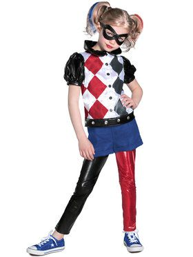 Deluxe Girls Harley Quinn DC Superhero Costume