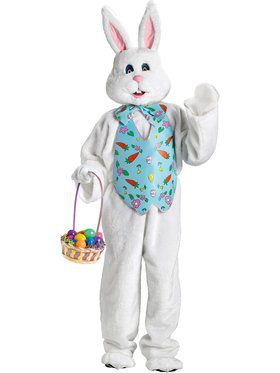 Deluxe Adult White Bunny With Blue Vest