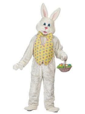 Deluxe Adult White Bunny With Yellow Ves