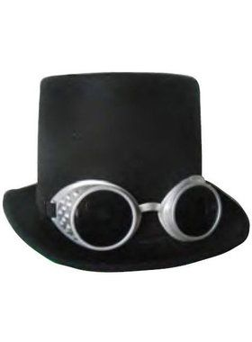 Deluxe Steampunk Top Hat With Goggles