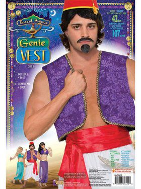 Desert Prince Purple Genie Vest Adult Costume
