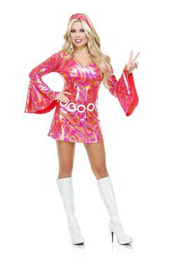 Disco Diva Hot Fuchsia Swirl Adult Costume