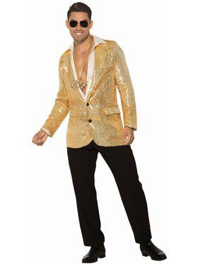 Disco Sequin Blazer - Gold - Standard Adult Costume