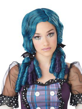 Doll Curls Blue And Purple Teen Wig
