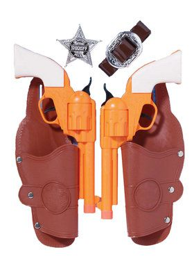 Double Holster/Gun Set w/Badge