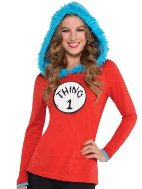 Dr. Seuss Womens Thing 1 & 2 Hooded Long Sleeve Shirt