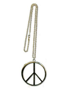 Extra Large Gold Peace Sign Necklace