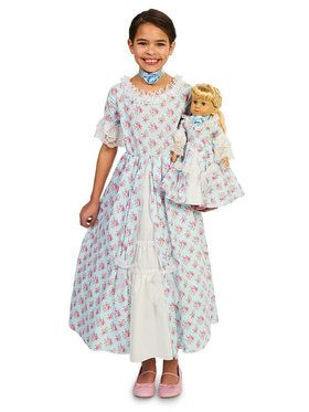 Fancy Early American Child Dress with Matching Doll Costume