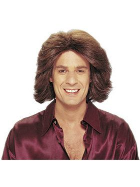 Feathered 70s Male Wig - Brown Adult
