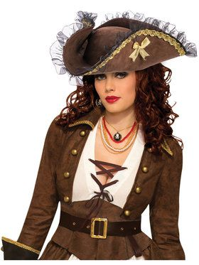 Womens Brown Pirate Tricorn Hat
