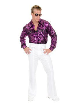 Flame Hologram Disco Shirt - Purple