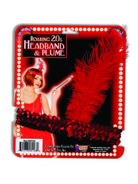 Flapper Headband With Red Feather Accessory